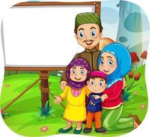 schattig moslimfamilie stripfiguur vector