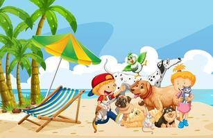 strand openluchtscène overdag met groep huisdieren en kinderen vector