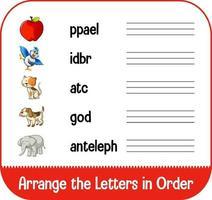 rangschik de letters op volgorde met afbeeldingen