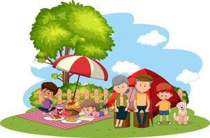 gelukkige familie kamperen in de tuin vector