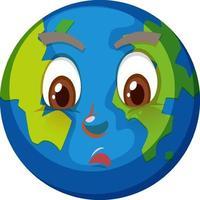 aarde stripfiguur met verwarde gezichtsuitdrukking op witte achtergrond vector