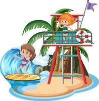 kinderen op het geïsoleerde eiland vector