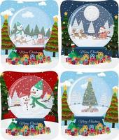 set van vrolijke kersttafereel met de kerstman in de sneeuw vector