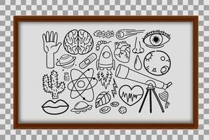 verschillende doodle slagen over wetenschappelijke apparatuur in houten frame op transparante achtergrond vector