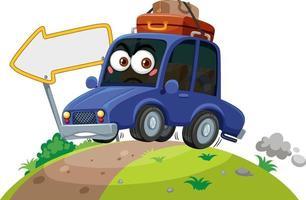 auto die op de weg met gezichtsuitdrukking op witte achtergrond reist vector