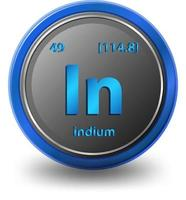 indium scheikundig element. chemisch symbool met atoomnummer en atoommassa.