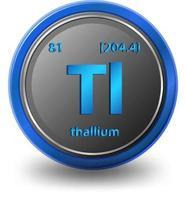 thallium scheikundig element. chemisch symbool met atoomnummer en atoommassa.