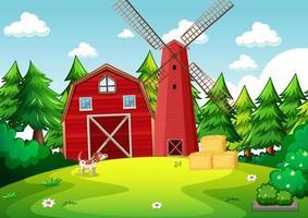 achtergrondscène met rode schuur en windmolen in de boerderij vector