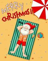 vrolijk kerstfeest lettertype Kerstman nemen zonnebad op het strand met zomerelement