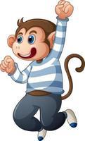 een schattige aap met t-shirt stripfiguur geïsoleerd op een witte achtergrond vector