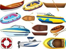 set van verschillende soorten boten en schepen geïsoleerd op een witte achtergrond vector
