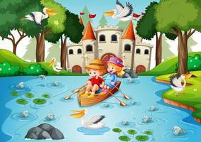 twee kinderen roeien de boot in de scène van het rivierpark vector