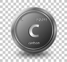 koolstof scheikundig element. chemisch symbool met atoomnummer en atoommassa. vector