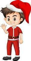 schattige jongen in kerst kostuum stripfiguur vector