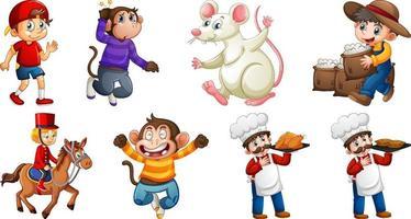 set van verschillende kinderliedjes karakter geïsoleerd op een witte achtergrond vector