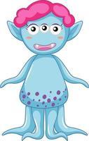 schattige blauwe alien met roze haar en drie ogen vector