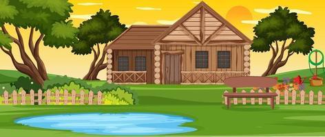 landelijk houten huis buiten landschap vector