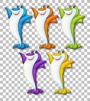 set van veel lachende schattige haai stripfiguur geïsoleerd op transparante achtergrond vector