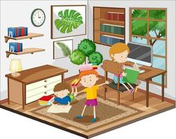 kinderen huiswerk in de huiskamerscène vector