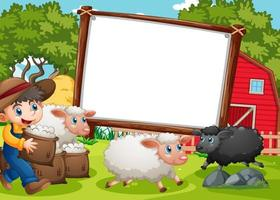 lege banner in boerderijscène met een jongen en veel schapen