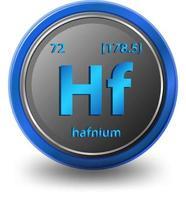 hafnium scheikundig element. chemisch symbool met atoomnummer en atoommassa.
