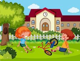 twee kinderen gewond aan wang en arm door het fietsen op de school vector