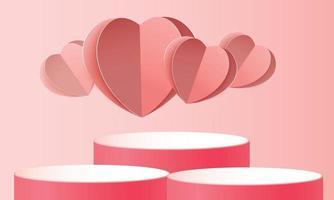 3d achtergrond van het podium rode product voor valentijnskaart. roze en hart liefde romantiek concept ontwerp vector illustation decoratie banner
