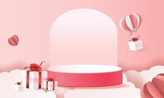 3d papier kunstpodium in wolken voor Valentijnsdag met hartjes en geschenken vector
