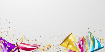 confetti en vlag conceptontwerp sjabloon vakantie gelukkige dag, achtergrond viering vectorillustratie. vector