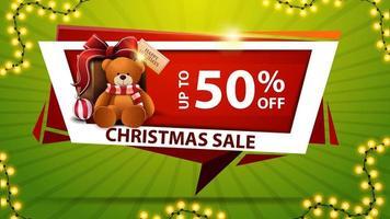 kerstuitverkoop, tot 50 korting, rode kortingsbanner in de vorm van geometrische plaat met cadeau met teddybeer vector