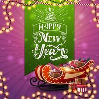 gelukkig nieuwjaar, roze ansichtkaart met slingers, groen groot lint met mooie letters en santaslee met cadeautjes