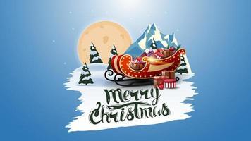 mmerry christmas, ansichtkaart met grote volle maan, dennenbos, berg en santa slee met cadeautjes. wit gescheurde banner