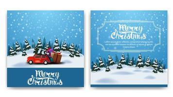 kerst vierkante dubbelzijdige ansichtkaart met cartoon winterlandschap, grote gele maan en rode vintage auto met kerstboom
