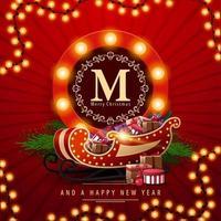 prettige kerstdagen en een gelukkig nieuwjaar, rode vierkante ansichtkaart met rond groetembleem, slinger en santaslee met cadeautjes vector