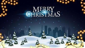 vrolijk kerstfeest, ansichtkaart met nacht winterlandschap en silhouet stad op horizontaal