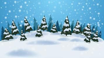 cartoon winterlandschap met blauwe lucht, dennen, afwijkingen en sneeuwval. achtergrond voor je kunsten.