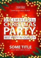 kerstfeest, beste feest in je stad, rode poster met witte letters, onscherpe achtergrond, kerstboomtakken en slinger vector