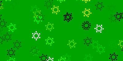 lichtblauwe, groene vectortextuur met ziektesymbolen. vector