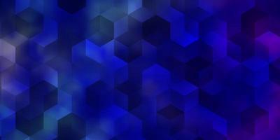 donkerroze, blauwe vectorachtergrond met reeks zeshoeken. vector