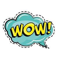 Wauw woord in pop-art stickerpictogram van de toespraakbel