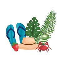 zomerhoed stro met palmen en slippers vector