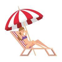 mooi meisje ontspannen in strandstoel met avatar karakter