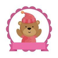 kant met kleine beer teddy en hoed