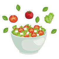 keramische kom met groenten salade splash vector