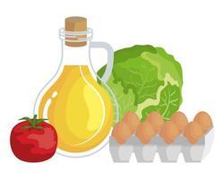 olie olie met eieren en groenten gezonde voeding pictogrammen vector