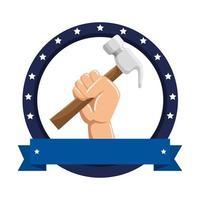 hand met hamer metalen gereedschap vector