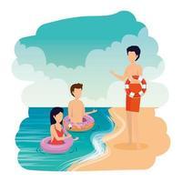 jongeren met drijvers op het strand