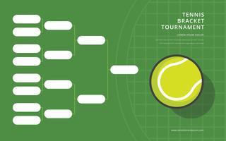 Tennistoernooi beugel poster vlakke jeugdstijl vector