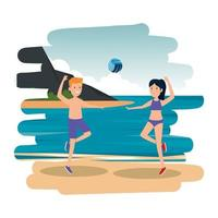gelukkig atletisch paar dat volleybal op het strand oefent vector