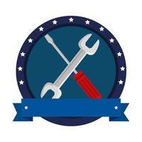 moersleutel en schroevendraaier tools gekruist